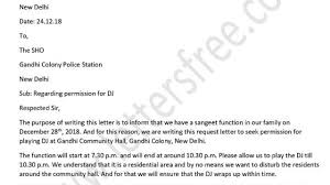 Permission Letters Template Police Permission Letter For Dj Loudspeaker In English