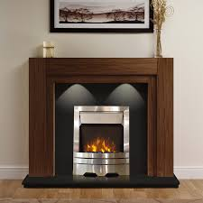 Electric American Walnut Mantel Surround Black Modern Wall Silver Steel  Flame Fire Fireplace Suite Lights Spotlights 48