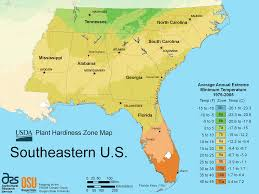 us map south east region south east us plant hardiness zone map