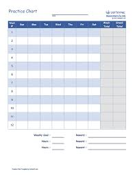 Behavior Chart Template Pdf Free Printable Practice Chart Pdf From Vertex42 Com