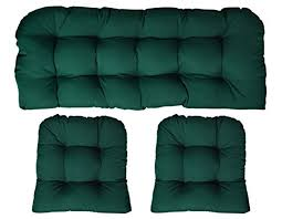 details about 3 piece wicker cushion set loveseat settee 2 cushions large forest green