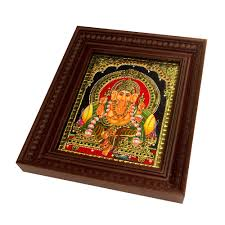 ganesh tanjore painting 10 x 12 with beaded frame