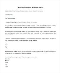 Sample Email Cover Letters Cover Letters In Email Sample Email Cover