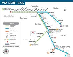 light rail san jose map  san jose vta light rail map (california