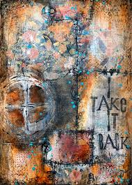 i take it back art journal page by gwen lafleur collage stenciling acrylic paint mark making