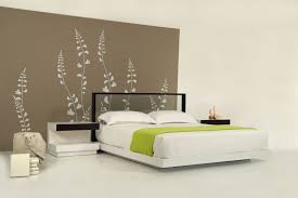 beautiful creative ideas for king size bedroom with brown painted wall and planters wall decal also transpa glass headboard plus white bedding sets
