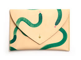 snake envelope clutch hand painted leather scad