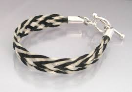 with toggle clasp and cabochons black and white flat braid horsehair bracelet with toggle clasp