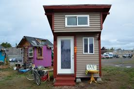 tiny houses for homeless. Two Individually Painted And Decorated Tiny Homes At Opportunity Village In Eugene, Oregon. Residents Houses For Homeless S