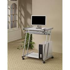 desks contemporary computer desk with keyboard tray and casters