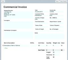 Invoice For Shipping Commercial Shipping Invoice International Commercial Invoice Example
