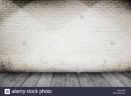 white wood floor background. Room Interior Vintage With White Brick Wall And Wood Floor Background