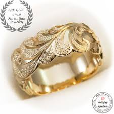 custom made 14k gold hand end hawaiian jewelry ring with king scroll design