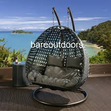 outdoor hanging furniture. Double Seater Hanging Pod Chair - Black With Grey Cushions Outdoor Furniture E