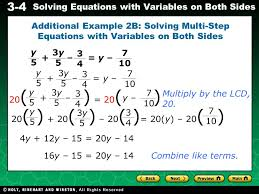 additional example 2b solving multi step equations with variables on both sides