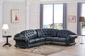 Leather Sectional Living Room Versachi Black Sectional Leather Sectionals Living Room Furniture