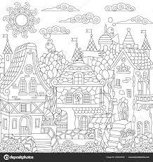Sprookje Stad Sprookjesachtige Stad Fantasie Centrum Huizen Met
