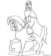 Sinterklaas Op Zijn Witte Paard Kleurplaat