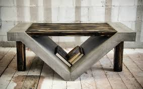 concrete and wood furniture. Concrete And Wood Furniture. The Slanted Storage Space Beneath This Table Is Perfect For Tucking Furniture F