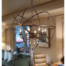 8 llght candelabra jossie crystal globe bronze finish chandelier light fixture