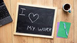 O I Love My Work Written On A Chalkboard At The Office Stock Photo  29626914