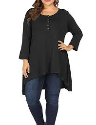Allegrace Size Chart Allegrace Women Plus Size Henley Button Long Sleeve Tunic Shirts Round Neck Long Tunics Top