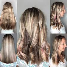 Hair Style Tip womens long blonde cut with textured ends and pink peekaboo 7625 by stevesalt.us