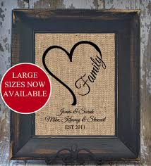 heart family rustic wedding blended family name print personalized Wedding Gift Ideas Under 20 heart family rustic wedding blended family name print personalized burlap monogrammed anniversary house warming gift under 20 art print wedding gift ideas under 20