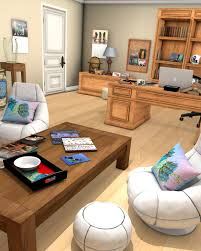 home office items. A Sitting Area With Items On The Coffee Table And Cushions Chairs. Home Office