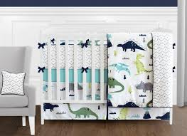 blue and green mod dinosaur 9 piece baby boy or girl bedding crib set