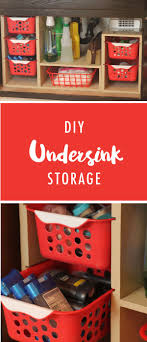 This DIY under sink storage solution is a great way to keep all of your  supplies neat and orderly.
