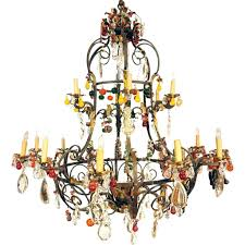 chandeliers large italian venetian wrought iron crystal and colored fruit drop 20 light chandelier colored