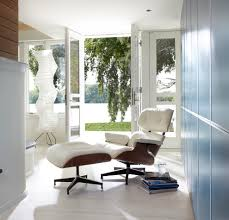 cedar lake international style example of a minimalist hallway design in minneapolis with blue walls white eames chair bedroomsweet eames office chair replicas style
