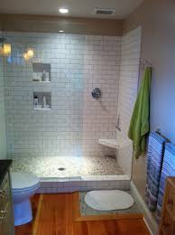 Stunning Bathroom Design And Ideas For Your House : Cute Doorless Walk In Shower  Ideas With Tiled White Marble Wall And Small Two Box For Bathroom Stuff ...
