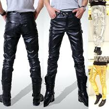 leather pants men black faux material color motorcycle skinny for in from clothing accessories mens