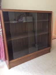 bookcase glass sliding front wood casing