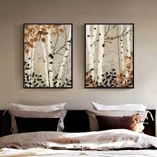 2 panel unframed modern white birch tree canvas painting wall art spray wall painting home decoration
