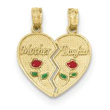 details about 14k yellow gold mother and daughter two piece break apart heart charm pendant