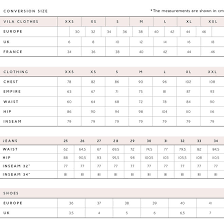 Vila Size Chart Sizeguide