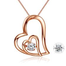 mabella rose gold plated sterling silver double heart dancing stone pendant necklace for women 18