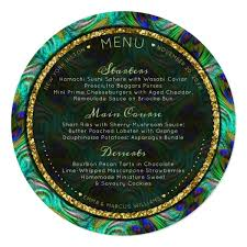 Peacock Feathers Gold Round Wedding Menu Cards Zazzle