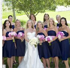 pic of how a large bridal party photographs with navy dresses with Wedding Colors Navy And Pink explore wedding navy, wedding colors, and more! wedding colors navy blue and pink