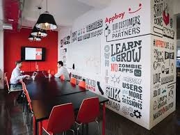 office wall mural. i worked with the team at appboy in nyc to create a custom typographic mural using their different mantras, slogans, and funny office phrases. wall h