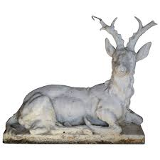 cast stone sitting stag garden statue for