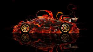 pagani zonda r fire abstract car