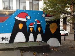 I liked this Christmas mural of penguins on the electrical substation at  the bottom of Thomas Street in the N4. I think I've seem the picture as  Christmas ...