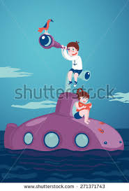 kids journey and adventure with a book and boy with a telescope are siting