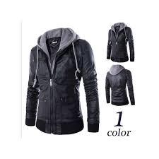 hot plus size detachable hooded men faux leather jacket black biker motorcycle mens pu leather coat