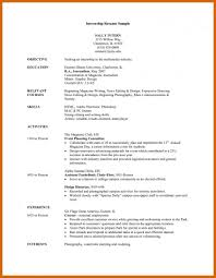 016 Internship Cv Template Resume Objective Badak Sample For College