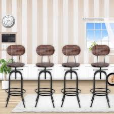 Us 6862 43 Offikayaa Industrial Style Bar Stool Height Adjustable Swivel Kitchen Dining Chair Pinewood Top Metal With Backrest Bar Stools In Bar